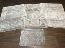 ROMANY WASHABLES NEW DESIGNS SETS OF 4 MATS XLARGE SIZES 100X140CM GREY/SILVER